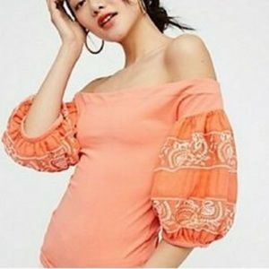 Free People rock with it coral cold shoulder top